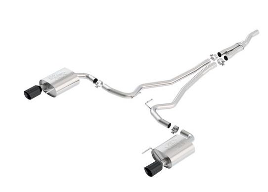 2015-2017 MUSTANG 2.3L ECOBOOST CAT-BACK SPORT EXHAUST SYSTEM - BLACK CHROME TIPS